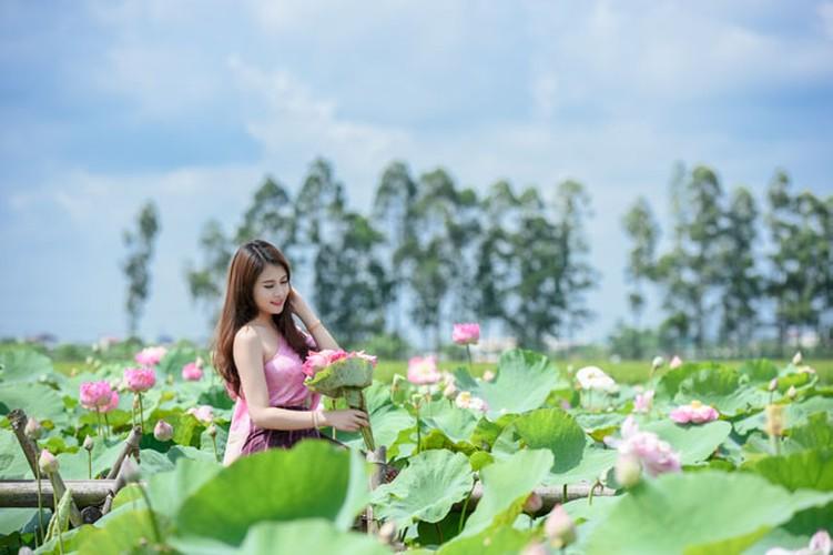 Nu sinh Lao khoe dang ngoc ben ao sen Ha Noi-Hinh-8