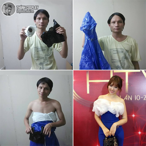 Cuoi sac nuoc bot voi thanh cosplay