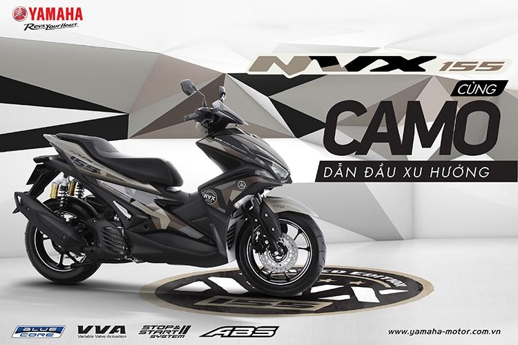 """""""Soi"""" Yamaha NVX 155 Camo moi gia 52,7 trieu tai VN"""