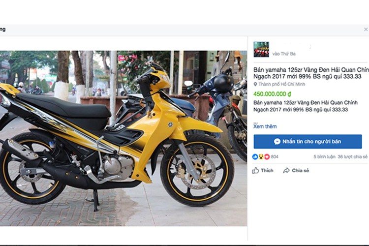 "Xe may Yamaha 125ZR ""thet gia"" 450 trieu tai Sai Gon"