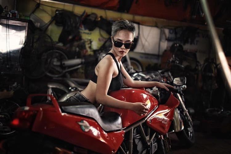 """""""Nu quai"""" Viet sieu ngau ben moto Ducati Supersport 900-Hinh-2"""