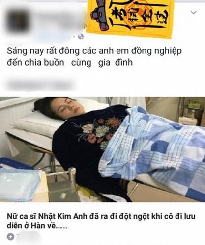 Thuc hu thong tin ca si Nhat Kim Anh dot tu khi dang luu dien