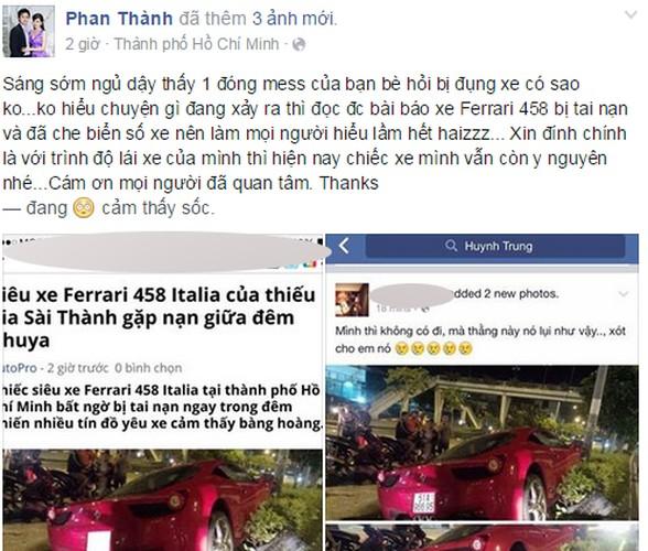 Sieu xe Ferrari 458 ''nat dau'' tai TP HCM cua thieu gia Phan Thanh?