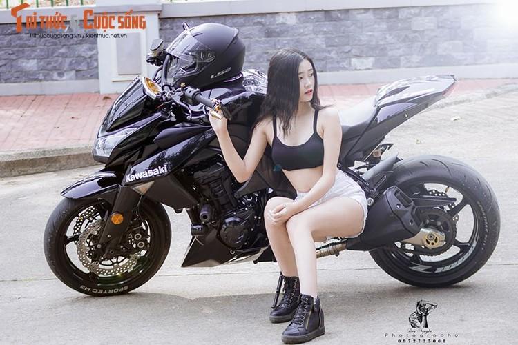 """Gai xinh Sai Gon khoe dang """"nuot"""" ben moto Kawasaki Z1000-Hinh-8"""